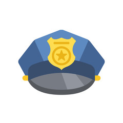 Police peaked cap. Vector police hat icon