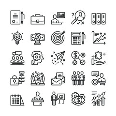 Thin line business icons set. Trendy web icons set. Black vector icons