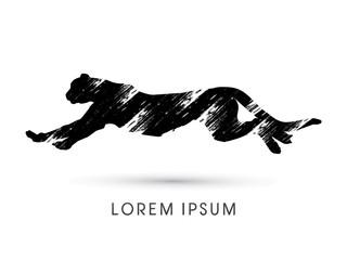 Silhouette Cheetah, Panther, design using grunge brush, graphic vector.