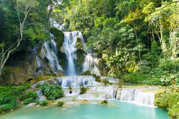 Türaufkleber Wasserfalle Tat Kuang Si waterfall (Tat Kuangsi), Luang Prabang, Laos