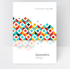 Brochure, leaflet, flyer, cover template. Modern Geometric Abstract background red, yellow & blue squares. minimalistic design creative concept stock-vector 10 EPS