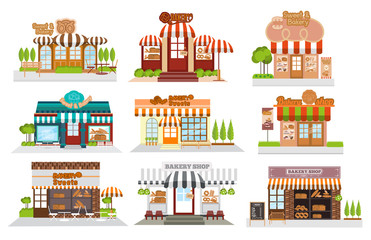 Cafe, restaurant,bakery shop, pizza cafe, coffee, Flat vector illustration stock set