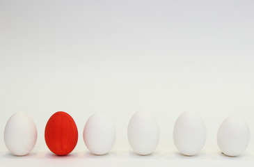 Red egg and white eggs
