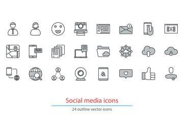 Social media, social network, communication outline icons.