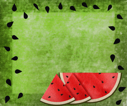 Watermelon background with seeds for a border and slices of the melon at the bottom.  Green textured background