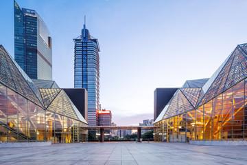 Fototapete - modern business buildings around square in zhuhai
