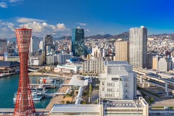 Kobe, Japan harbor skyline.
