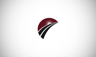 Road construction creative logo