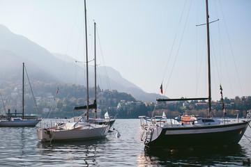 yacht in a mountain lake Como