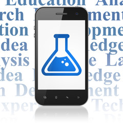 Science concept: Smartphone with Flask on display