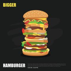 big hamburger on chalkboard background flat design