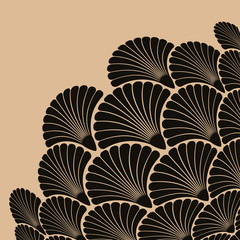 A japanese style corner ornament, with a bouquet of scales flowers pattern in a cream and black palette