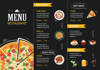 vector restaurant cafe menu template flat design