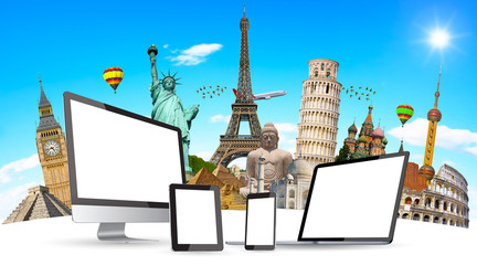 Famous monuments of the world and tech devices