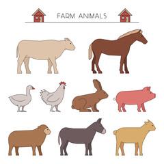 Outline farm animals. Line farm animals.