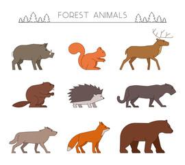 Outline forest animals. Line forest animals.