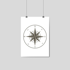 wind rose, compass on white hanging paper