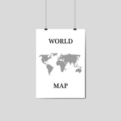sheet hanging with world map