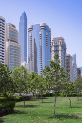 City view with skyscrapers in the oriental city