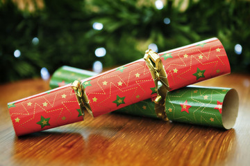 Christmas Crackers, red and green.