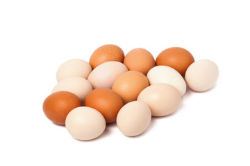 Group of eggs isolated on white background