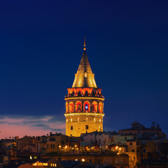 Illuminated Galata Tower in Istanbul