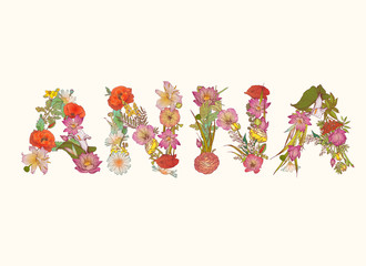 ANNA. Name written of flowers
