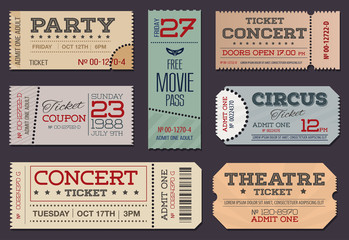 Theater, circus, party and cinema Tickets & Coupons. A collection of  vector Tickets