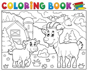 Coloring book happy goats near farm