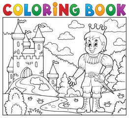 Coloring book prince near castle