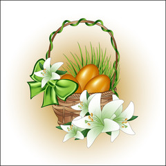 Basket with Easter eggs and lilies.