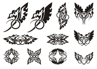 Twirled dragon symbols. Winged amusing dragon with the tail twirled in a ring, frames and symbols from him