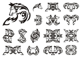 Tribal fox set. Profile of a fox and the twirled symbols from her. Black on the white