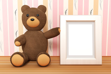Teddy with empty picture frame