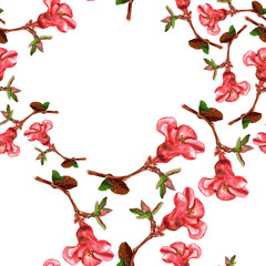 Seamless background pattern with watercolor drawings of red flowers