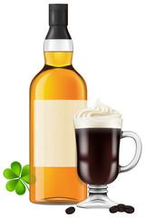 Irish coffee, vector illustration.