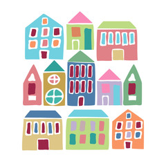 Cartoon colorful houses