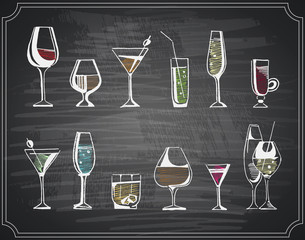 Hand drawn sketch set of alcohol drinks and cocktails. Vector illustration