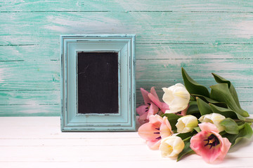 Fresh  spring tulips  and empty blackboard on turquoise  painted