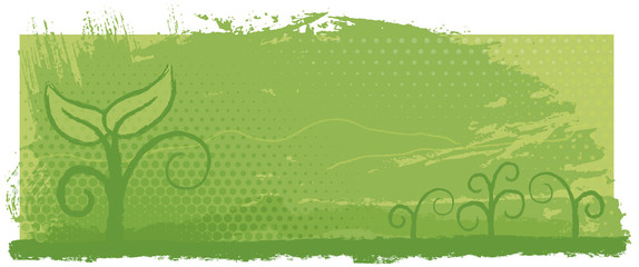 Eco banner. Green shoot. An banner with the symbol of a small plant sprouting from the ground.