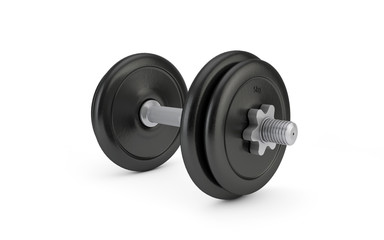 Single dumbbell isolated on white background