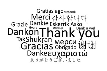 Black thank you in different languages vector