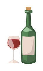 Wine bottle and glass of alcohol illustration.