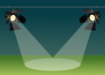 Realistic Spotlights with Light Effect. Studio, Football Field, Show. Vector illustration.