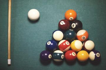 High angle view on pool table