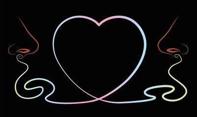 Noses that smell something lovely like love pheromones, depicted as a heart symbol between them. Isolated vector illustration on black background