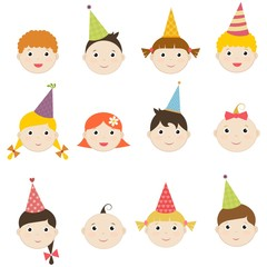 Set of children with birthday hats