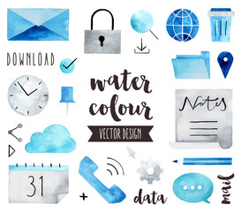 Business Communication Watercolor Vector Objects