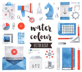 Business Strategy Watercolor Vector Objects