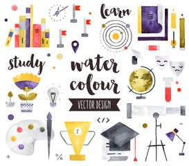 Education Elements Watercolor Vector Objects